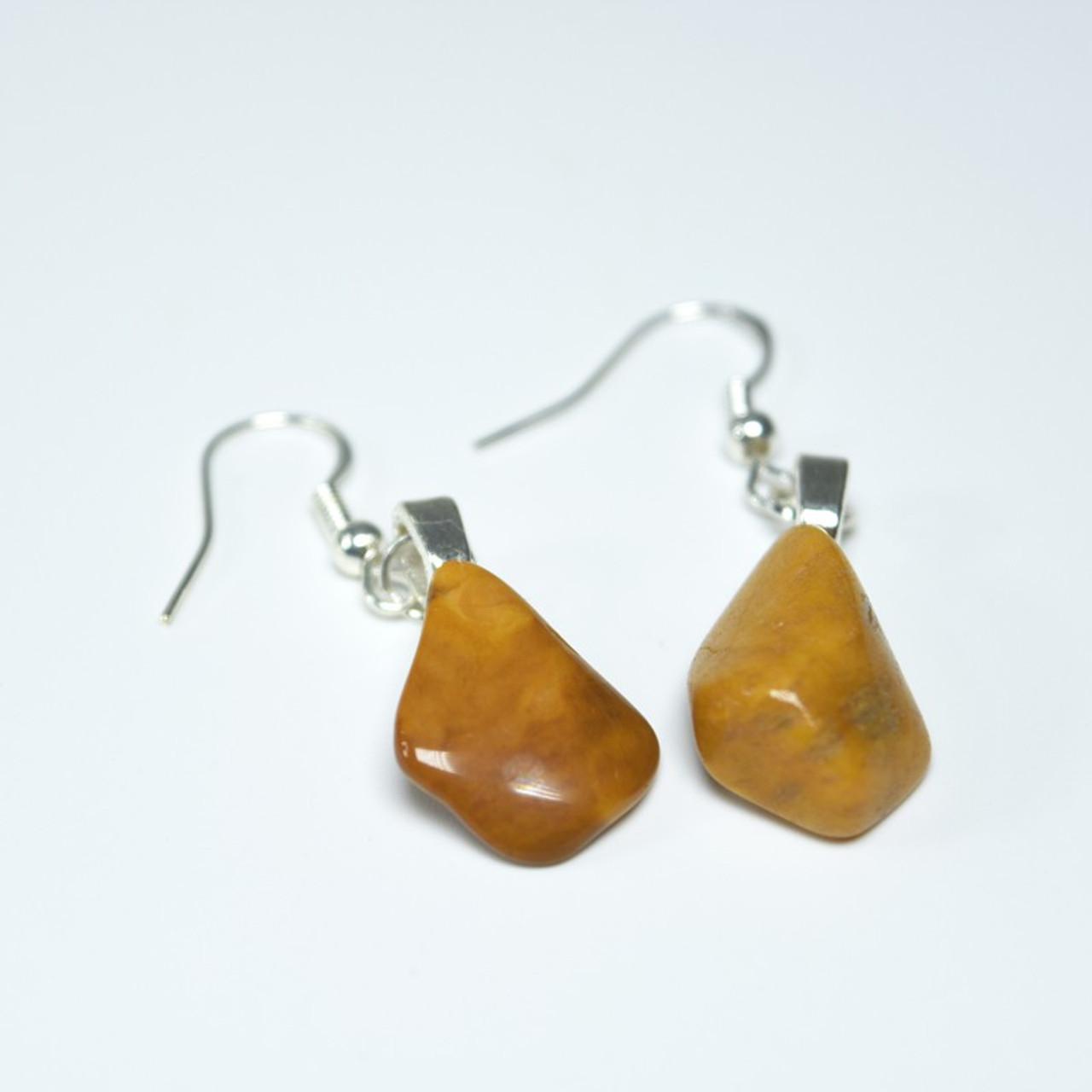 Tumbled Yellow Jasper Stone Earrings