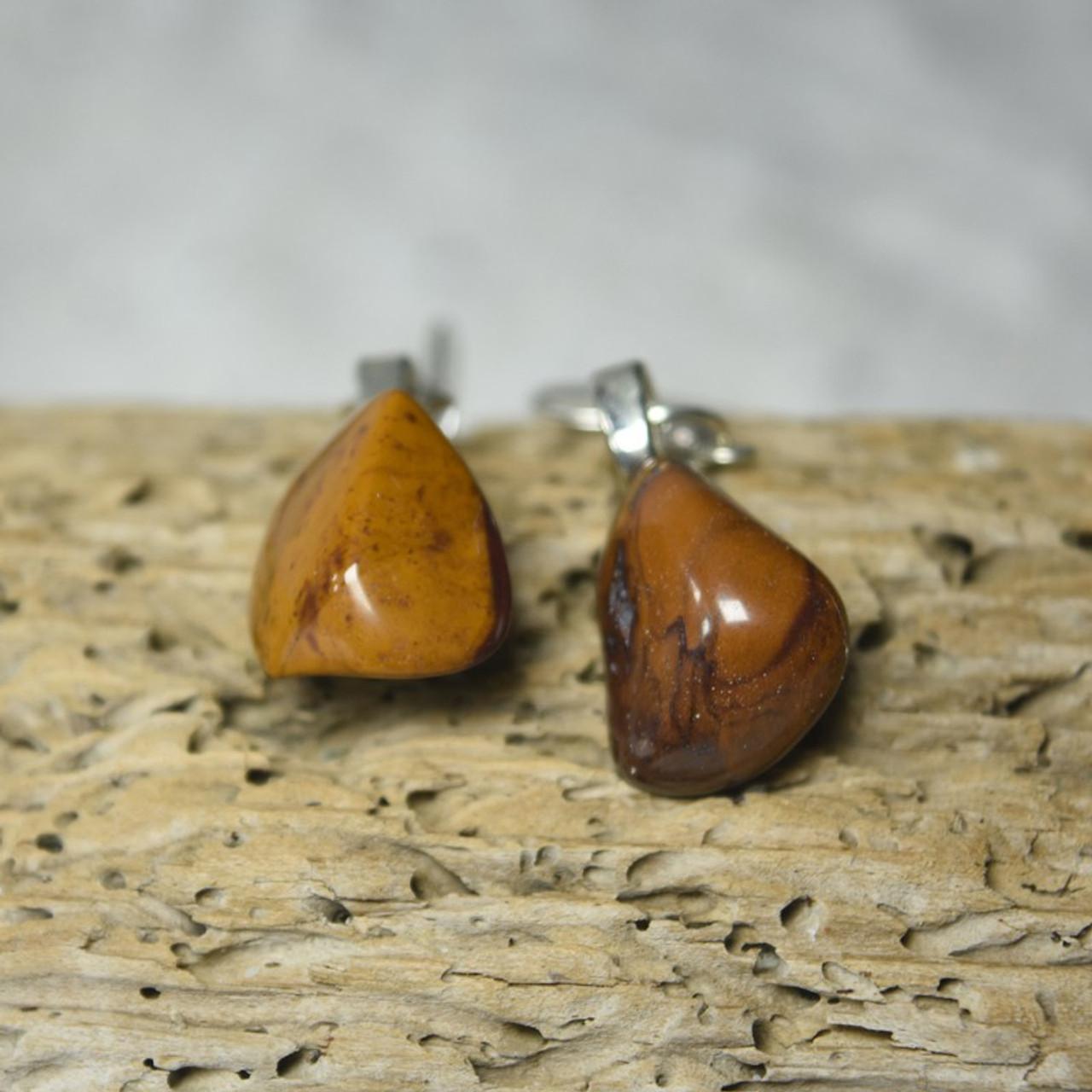 Tumbled Yellow Jasper Stone Dangling Earrings - 1 Set