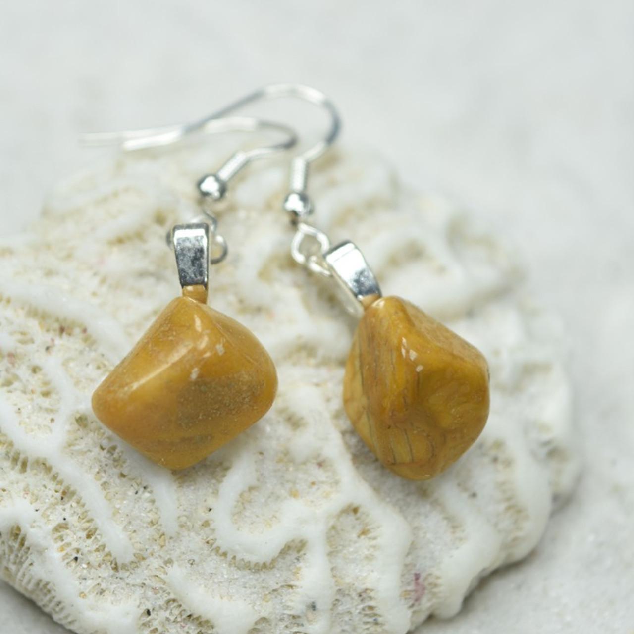 Tumbled Yellow Jasper Earrings