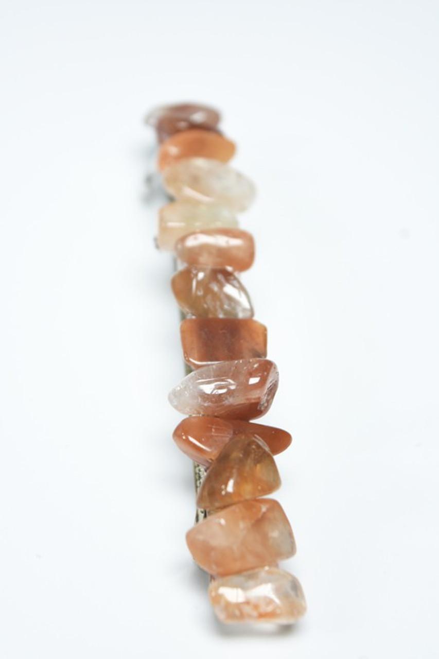 Red Quartz Stone Hair Clip