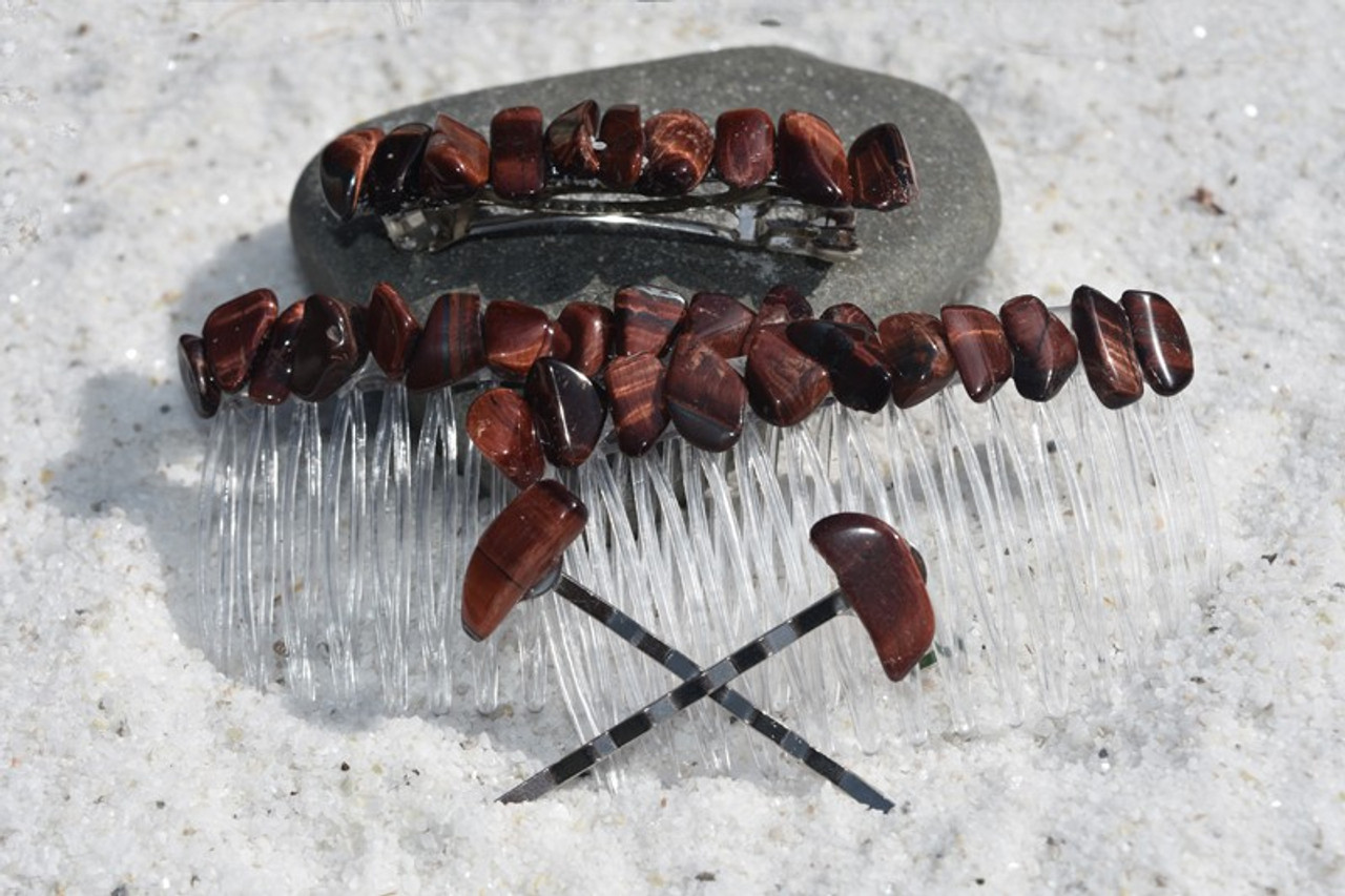 Red Tiger's Eye Stone Hair Clip Set