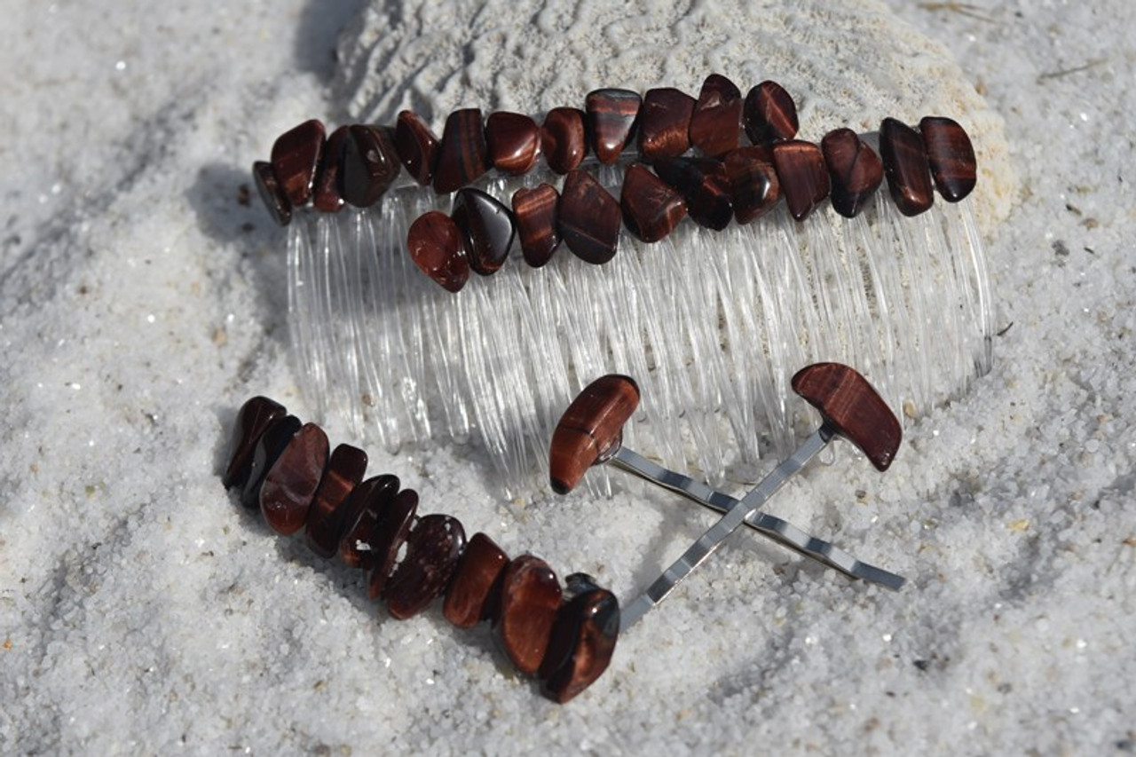 Tumbled Red Tiger's Eye Stone Hair Clip Set
