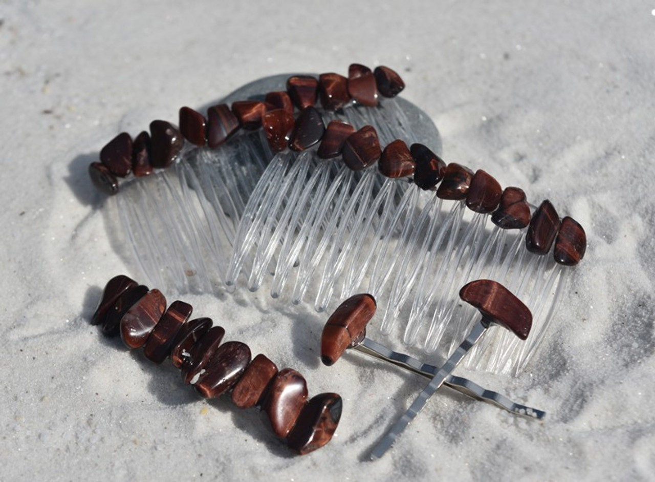 Red Tiger's Eye Stone Hair Clip Set
