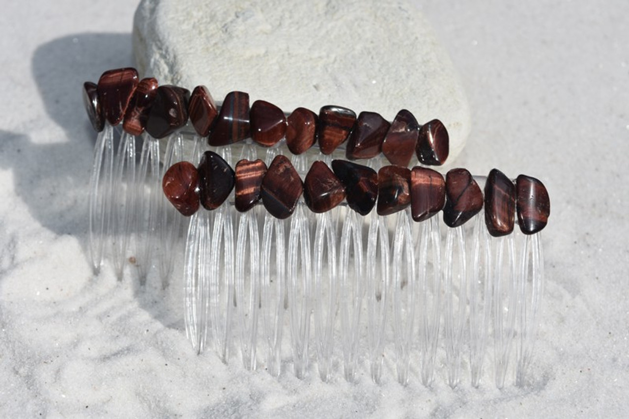 Red Tiger's Eye Stone Hair Comb