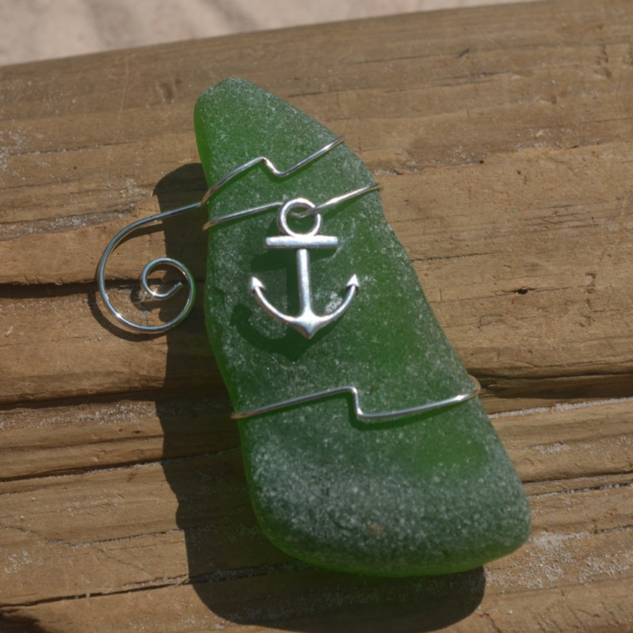 Surf Tumbled Sea Glass Boat Anchor Ornament - Choose Your Color Sea Glass Frosted, Green, and Brown - Made to Order