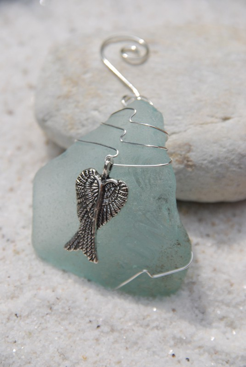 Surf Tumbled Sea Glass Angel Wings Ornament - Choose Your Color Sea Glass Frosted, Green, and Brown - Made to Order