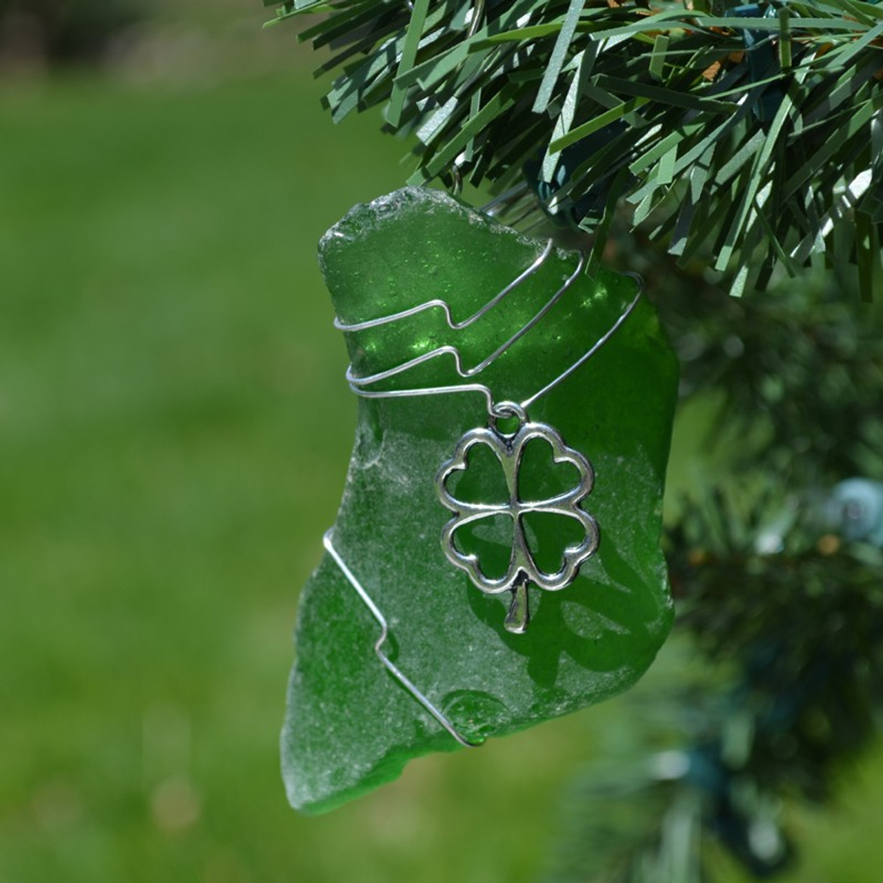Custom Surf Tumbled Sea Glass Irish Shamrock Ornament - Choose Your Color Sea Glass Frosted, Olive Green, and Brown.