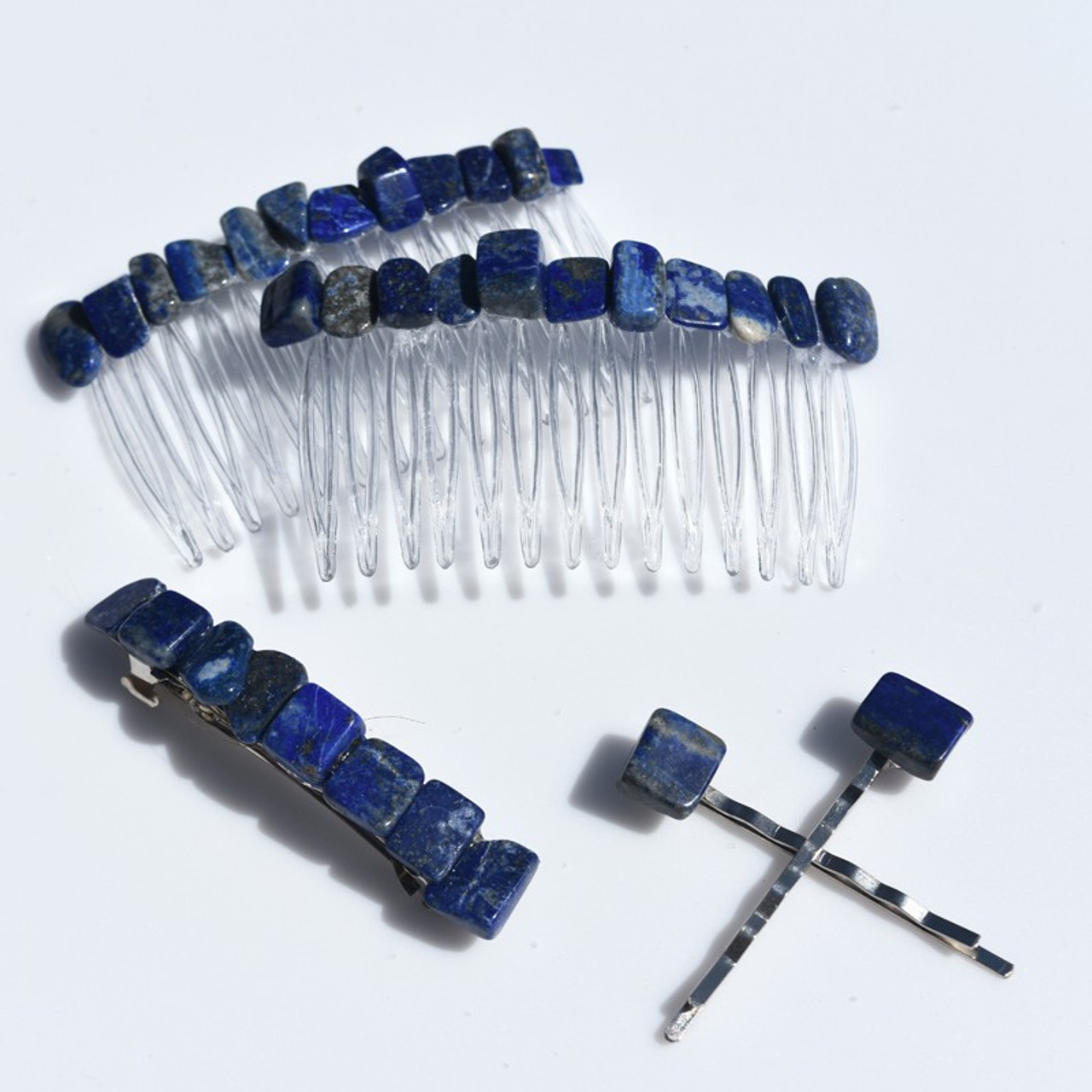 Lapis Lauzli Stone Hair Clip Set