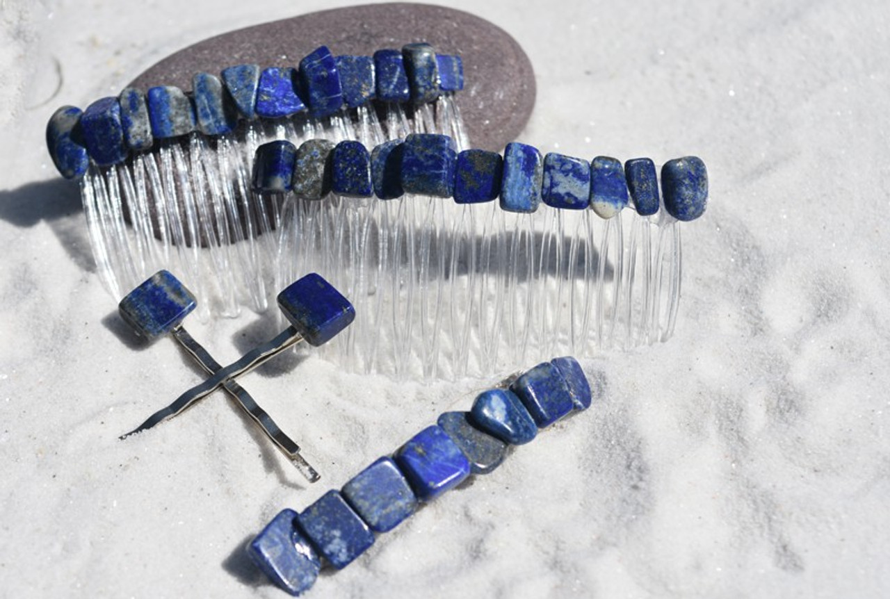 Lapis Lauzli Stone Hair Clip Set - Includes 2 Hair Combs, 1 60 mm French Barrette, 2 Hair Pins - Made to Order
