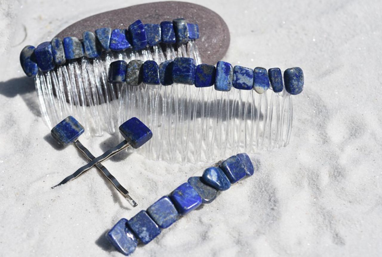 Lapis Lauzli Stone Hair Clip Set - Includes 2 Hair Combs, 1 60 mm French Barrette, 2 Hair Pins