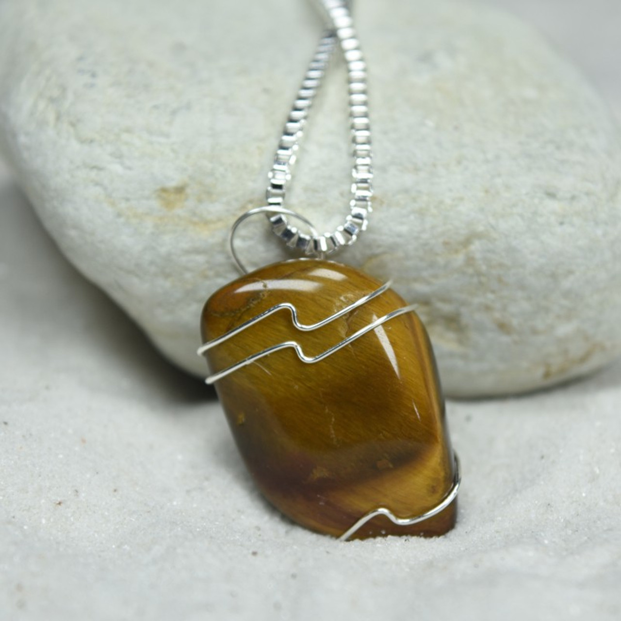 Tumbled Gold Tiger's Eye Stone Wire Wrapped Necklace