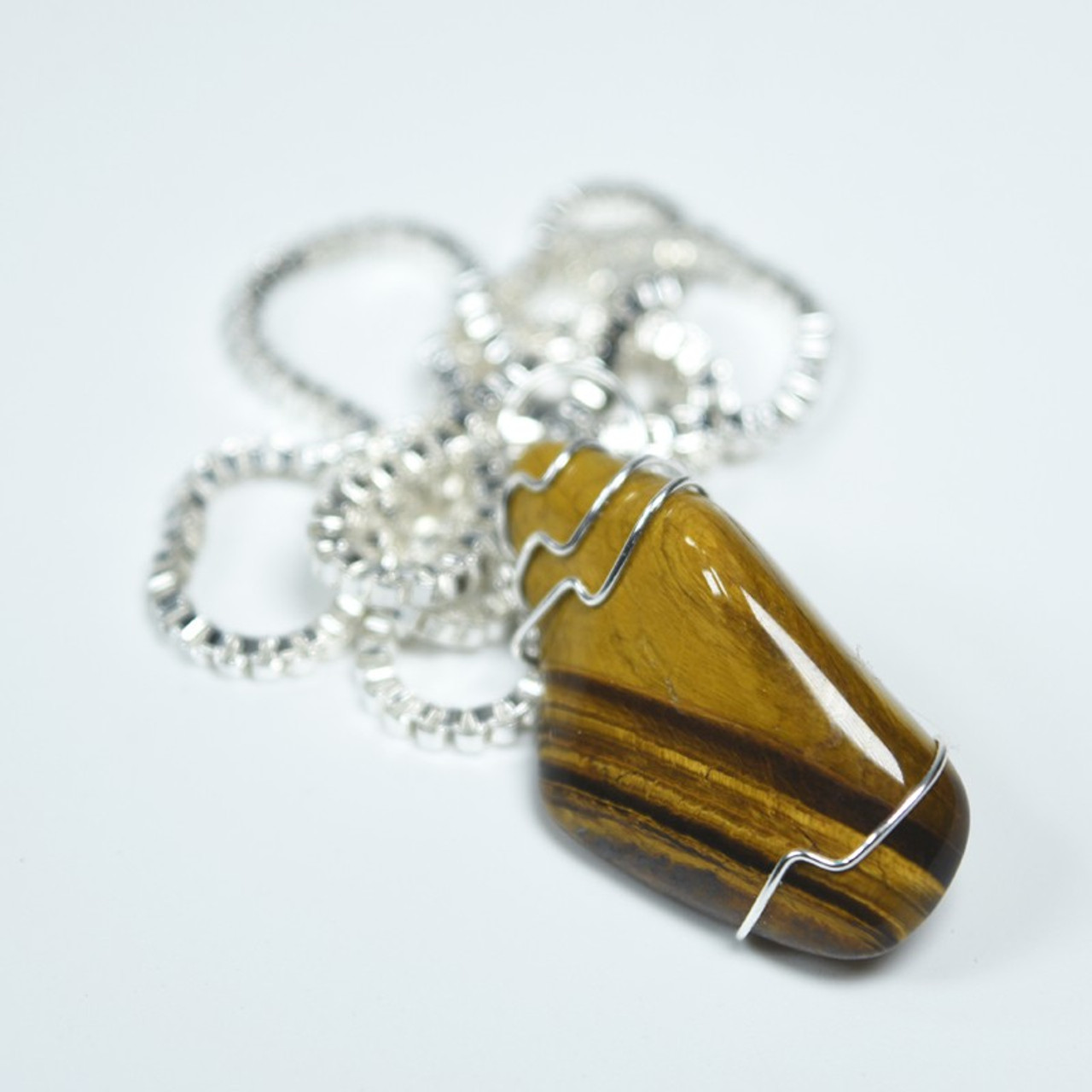 Gold Tiger's Eye Stone Wire Wrapped Necklace
