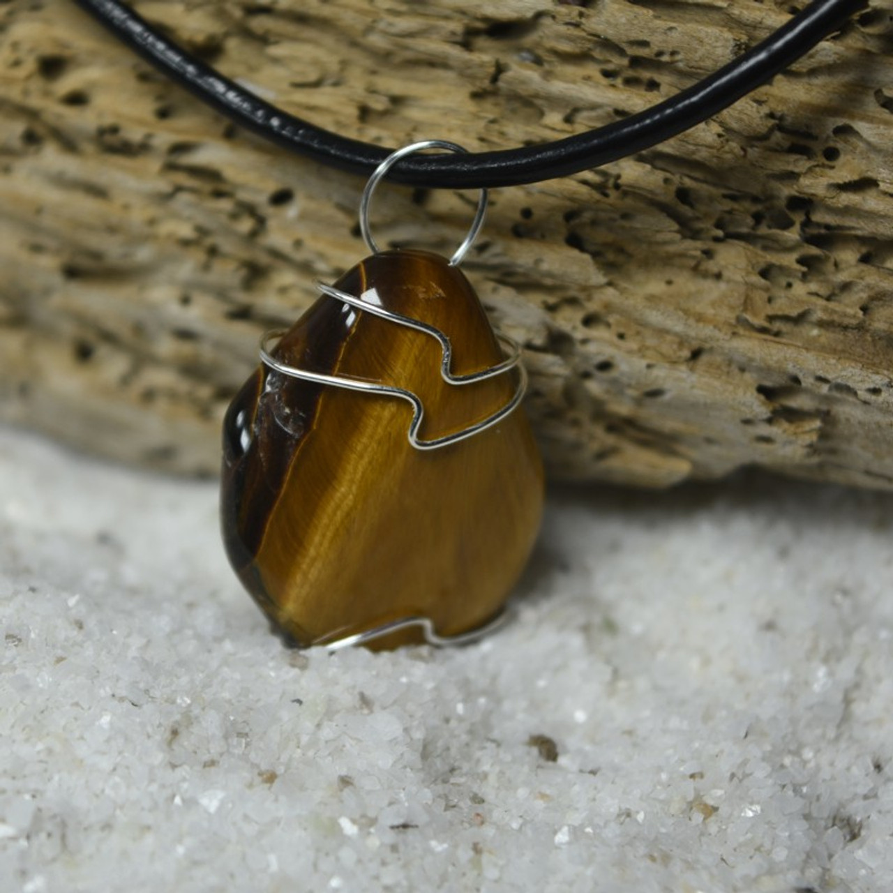 Gold Tiger's Eye Stone Wire Wrapped Pendant