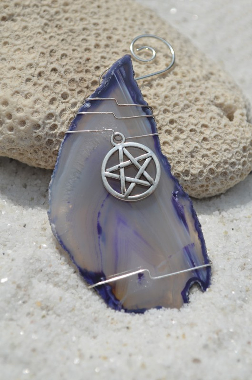 Agate Slice Ornament with Silver Pagan Wiccan Star Charm - Choose Your Agate Slice Color - Made to Order