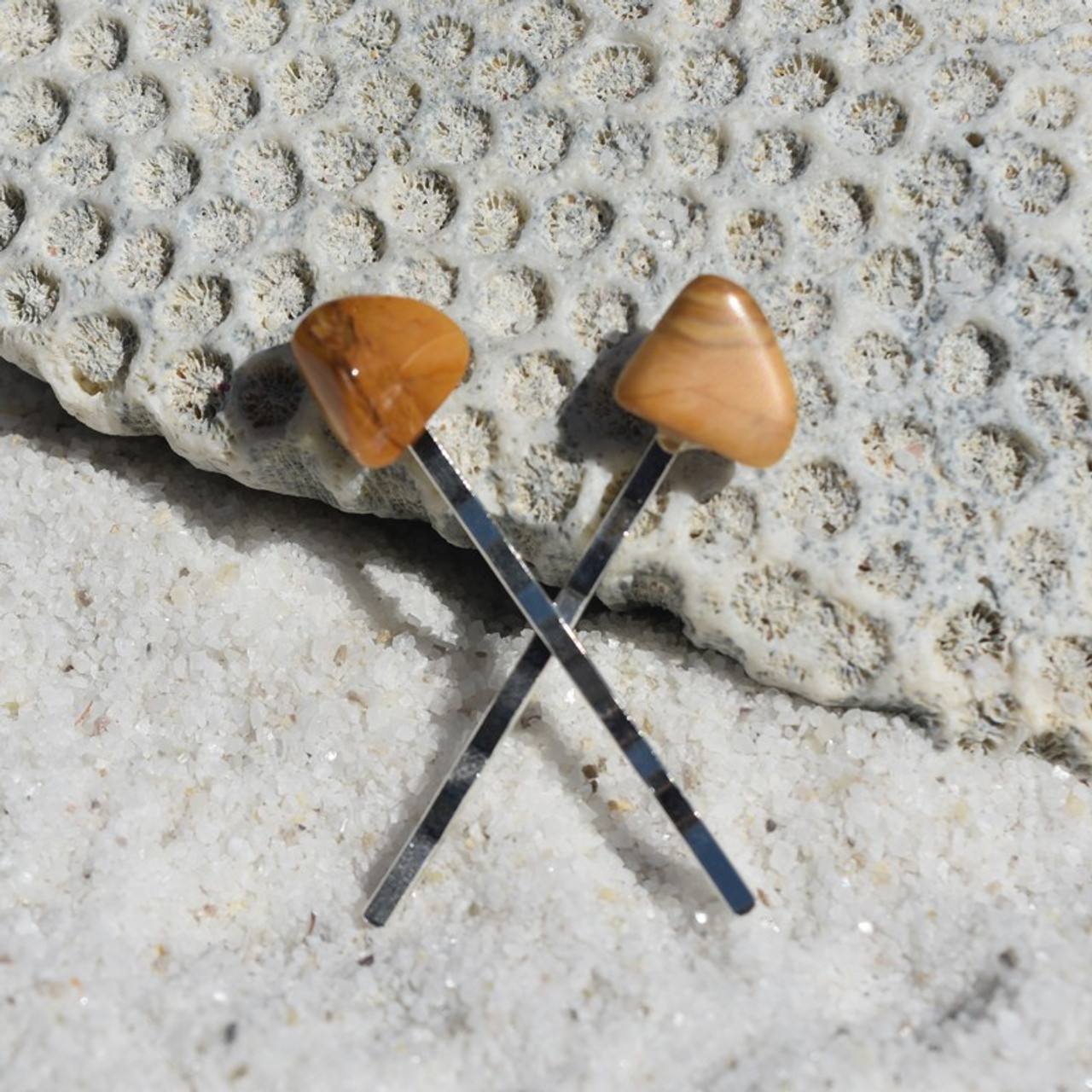 Yellow Jasper Stone Hair Pins