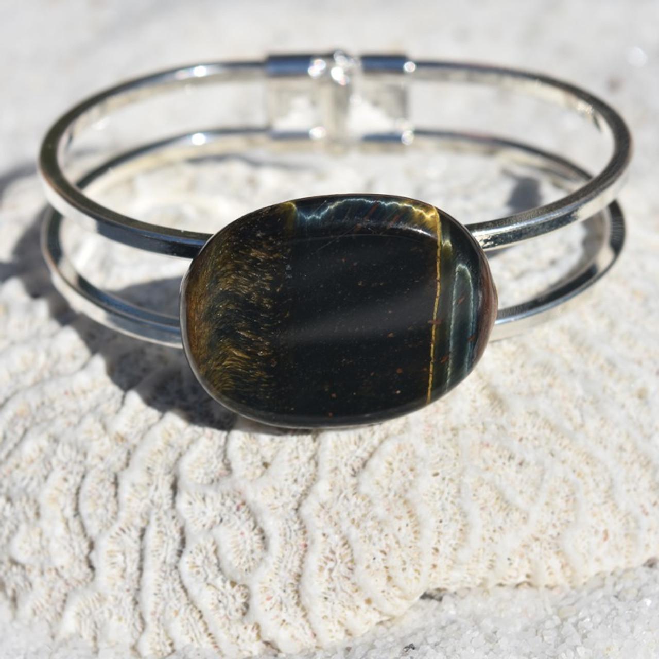 Blue Tiger's Eye Palm Stone Silver Bangle Cuff Bracelet
