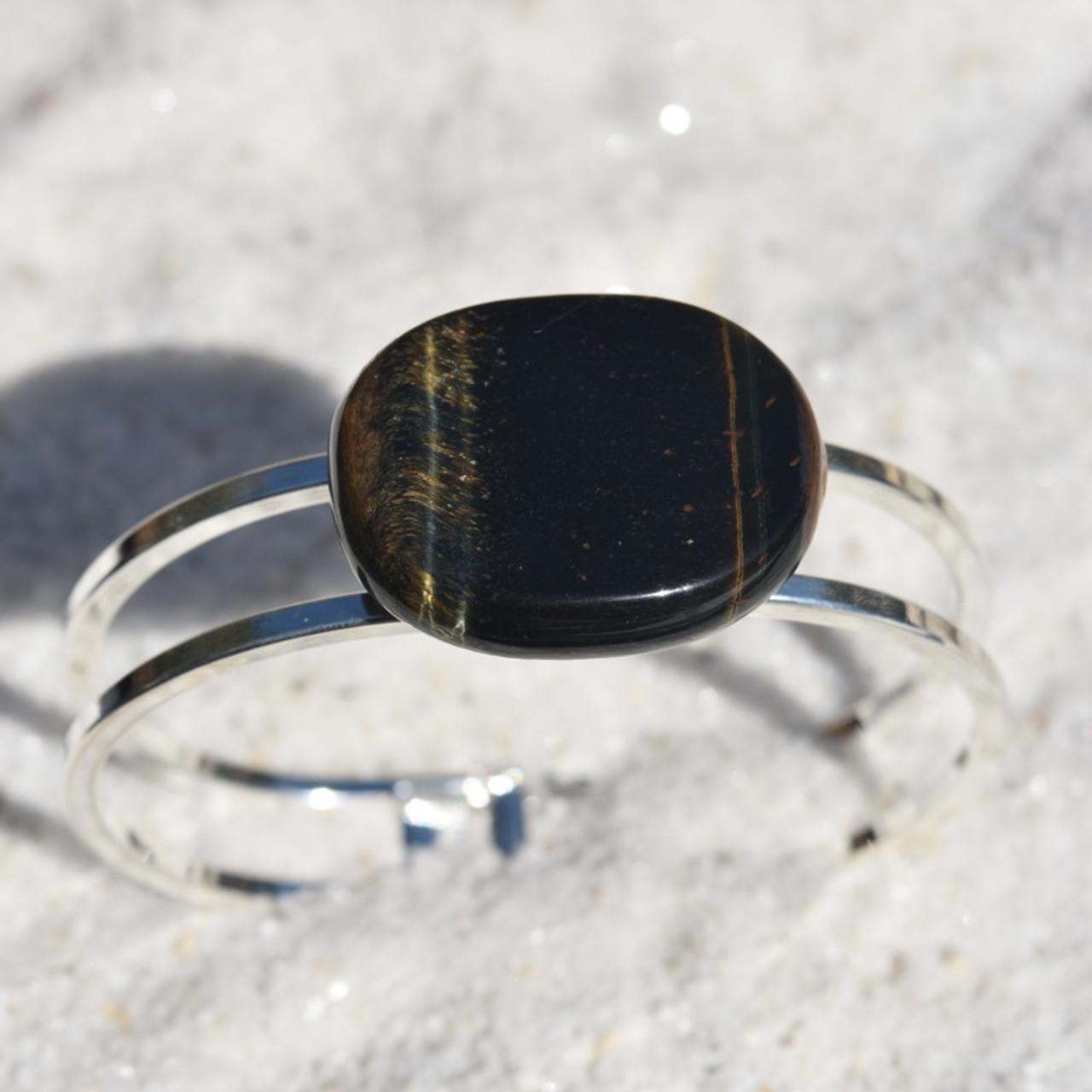 Blue Tiger's Eye Palm Stone Bracelet