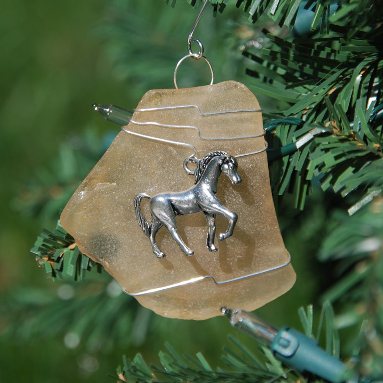 Surf Tumbled Sea Glass Horse Ornament - Choose Your Color Sea Glass Frosted, Green, and Brown - Made to Order