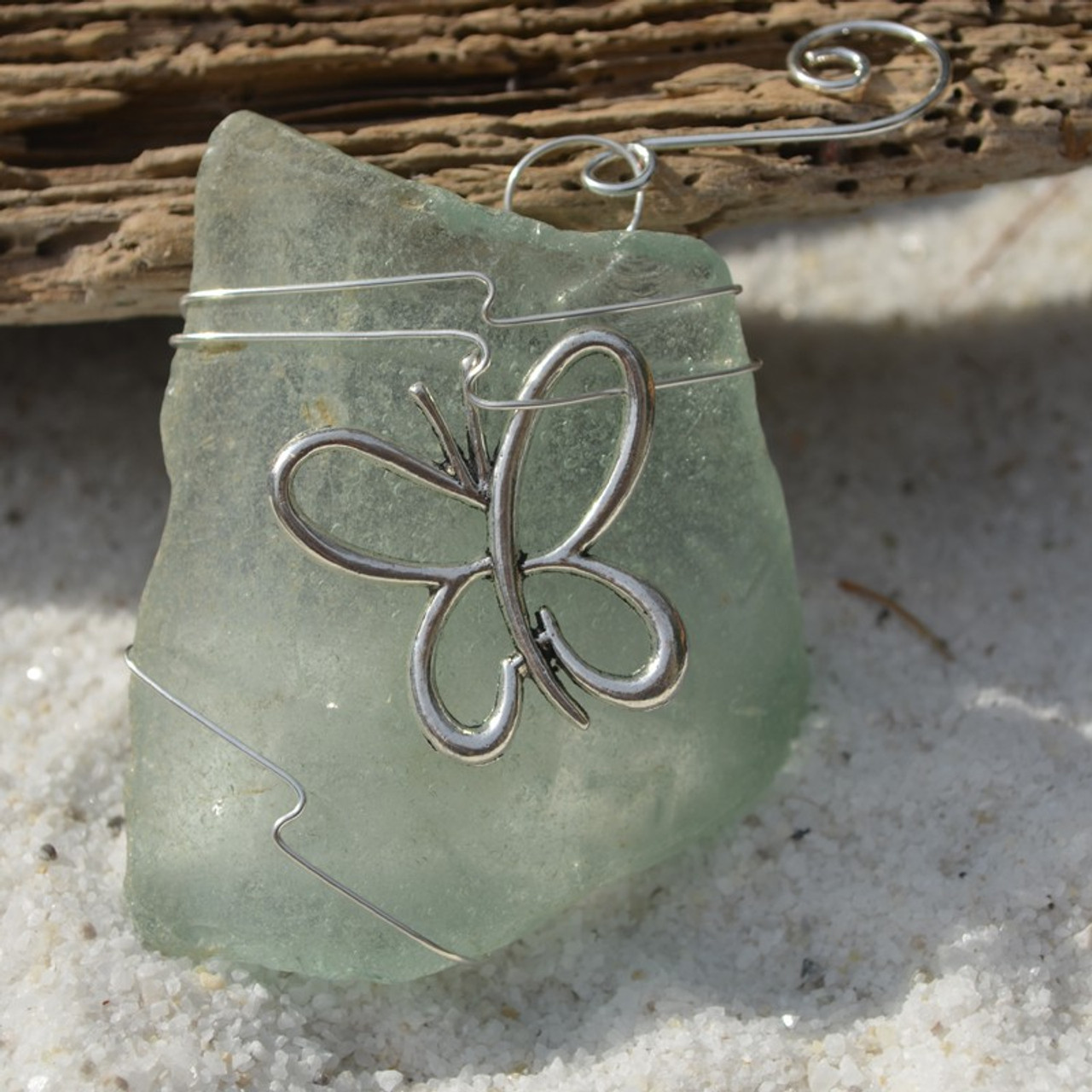 Surf Tumbled Sea Glass Butterfly Ornament - Choose Your Color Sea Glass Frosted, Green, and Brown - Made to Order