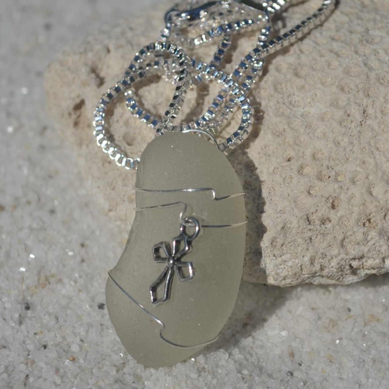Wire Wrapped Cross Pendant and Necklace
