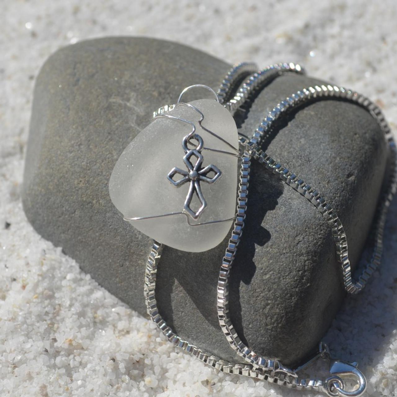 Cross Sea Glass Necklace
