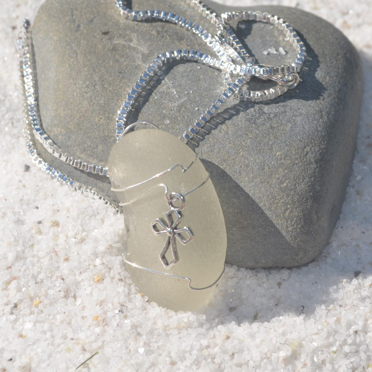 Handmade Genuine Sea Glass Necklace with a Silver Cross Charm - Choose the Color - Frosted, Green, Brown, or Aqua- Made to Order