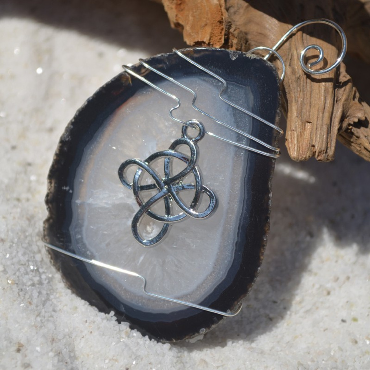 Agate Slice Ornament with Silver Celtic Cross Charm - Choose Your Agate Slice Color- Made to Order