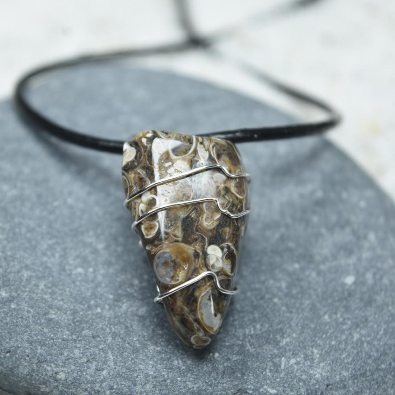 Tumbled Turritella Stone Wire Wrapped Necklace