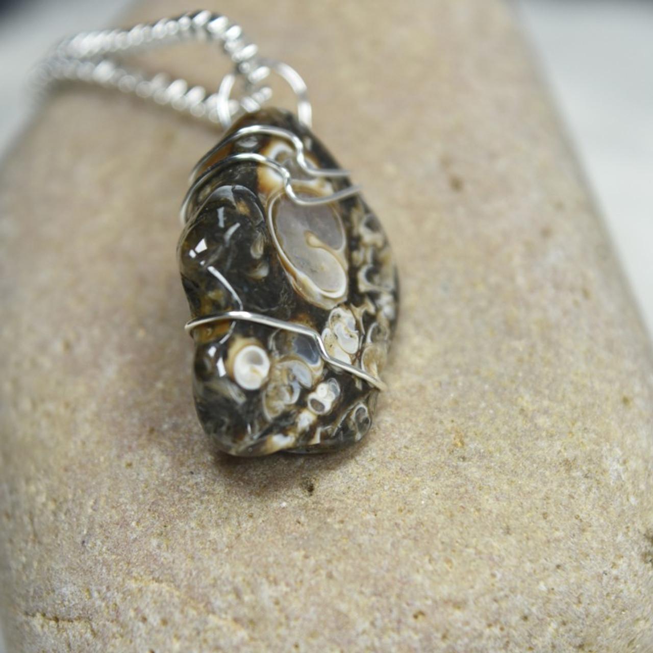 Tumbled Turritella Stone Pendant