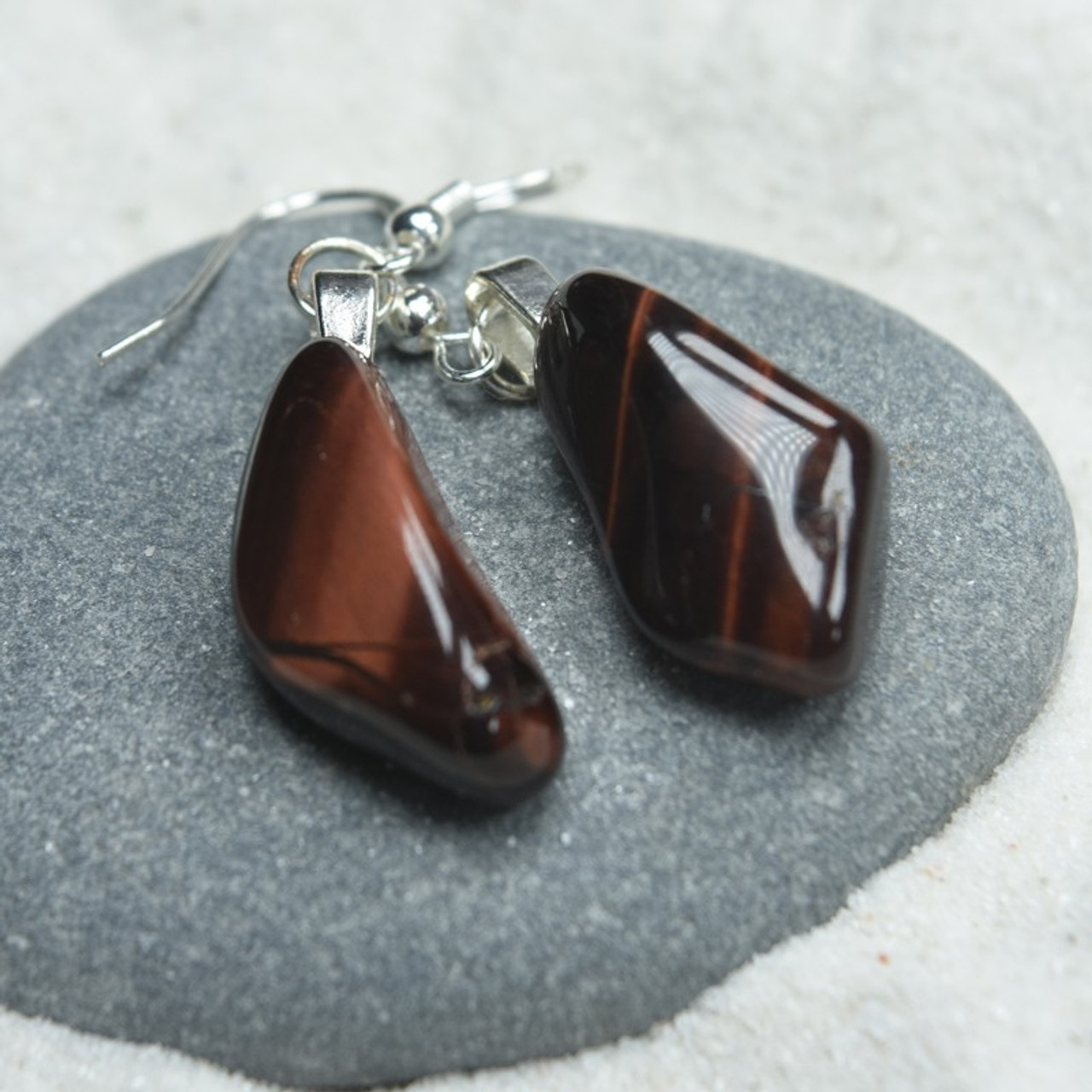 Tumbled Red Tiger's Eye Stone Earrings