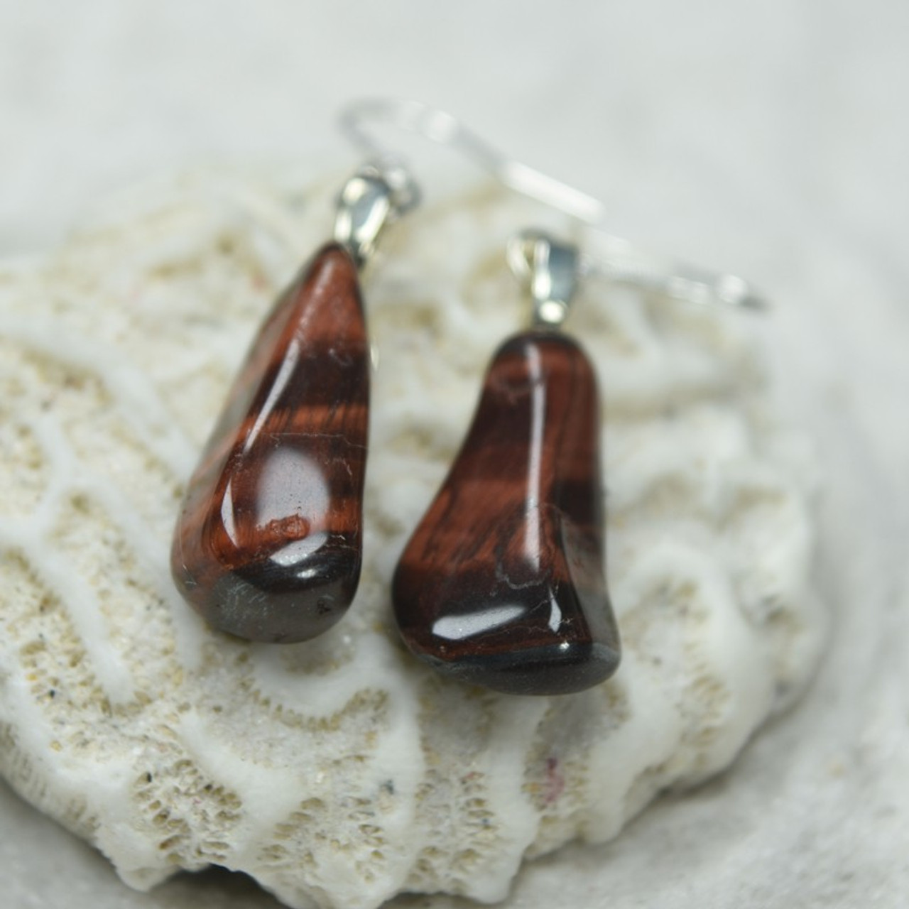 Red Tiger's Eye Stone Dangling Earrings