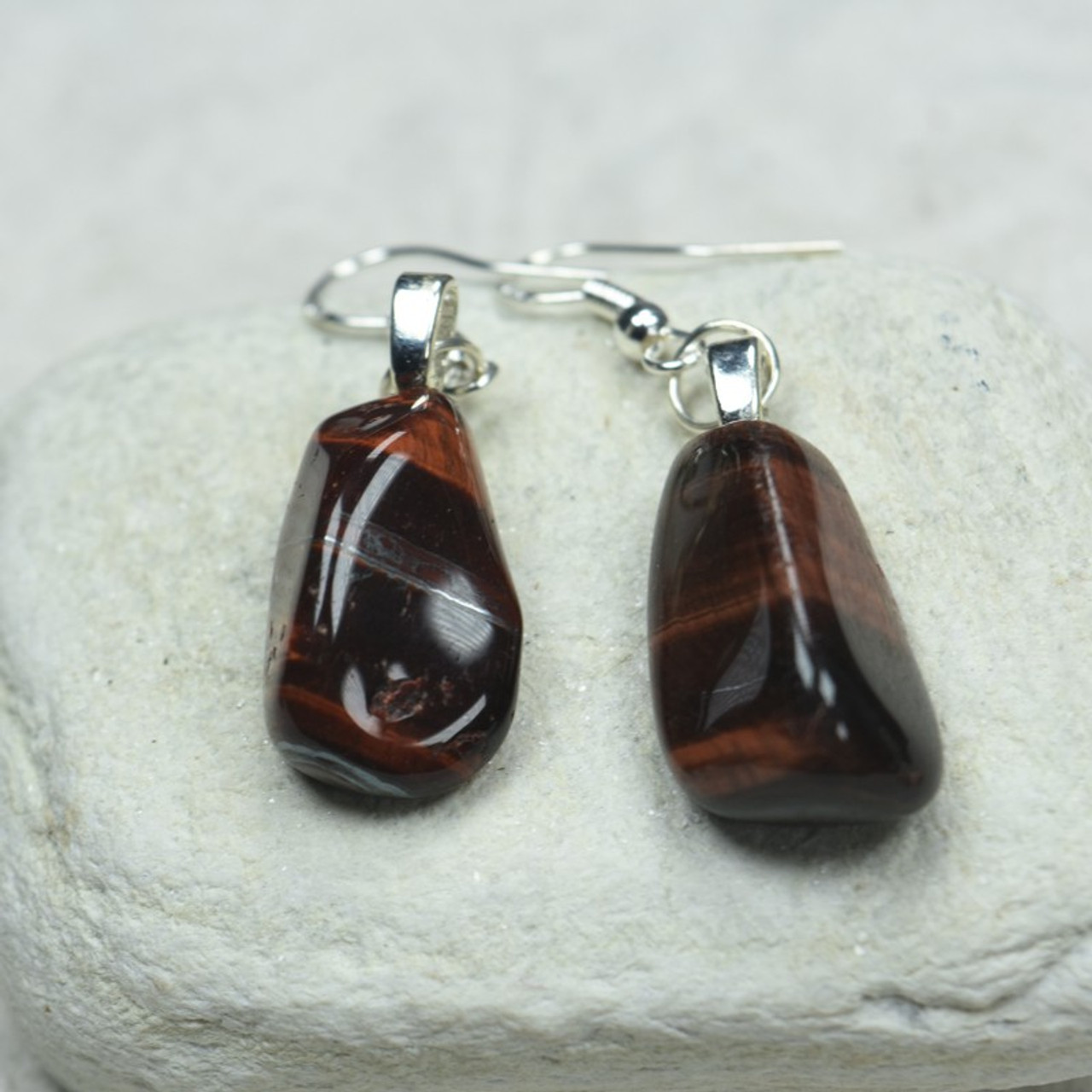 Red Tiger's Eye Stone Earrings
