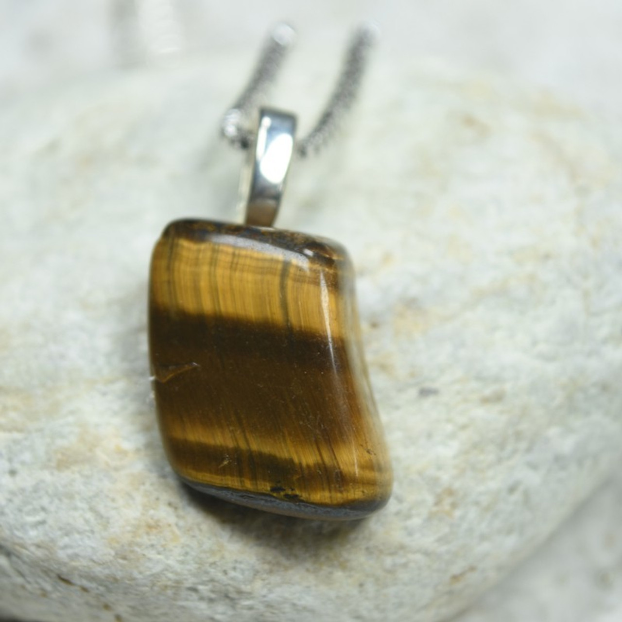 Tumbled Gold Tiger's Eye Stone Necklace