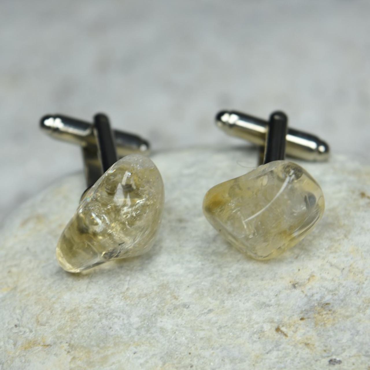 Custom Citrine Stone Cufflinks Handmade - 1 Set