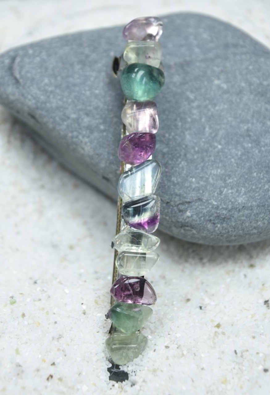 "Fluorite Stone French Barrette Hair Clip 4"" or 100 mm Length"