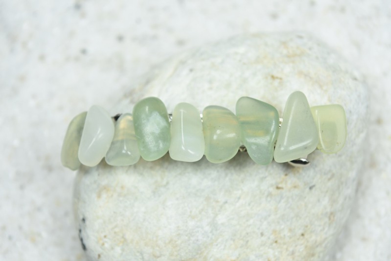 Green Jade Stone French Barrette - 60 mm