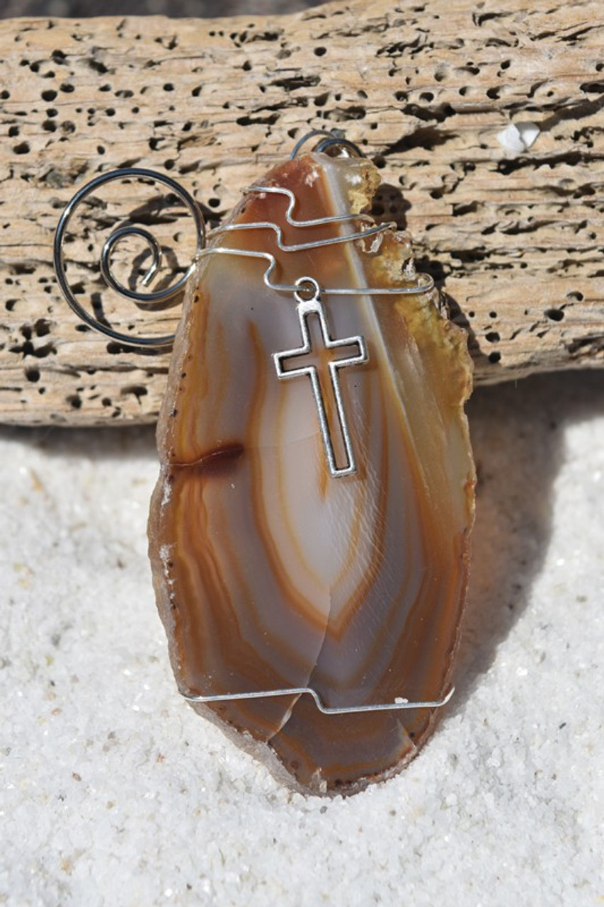 Custom Handmade Agate Slice Ornament with Silver Cross Charm - Choose Your Agate Slice Color