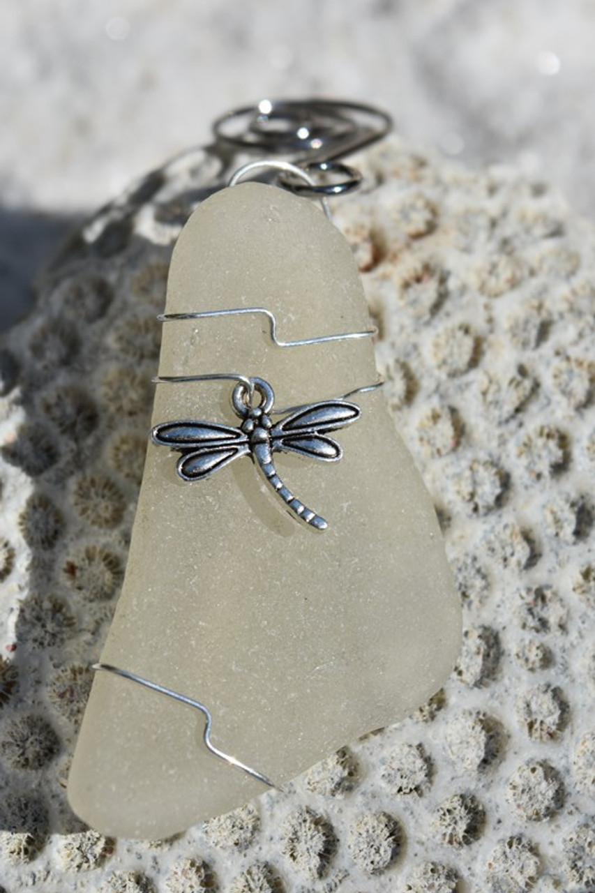 Dragonfly on a  Surf Tumbled Sea Glass Ornament - Choose Your Color Sea Glass Frosted, Green, and Brown - Made to Order
