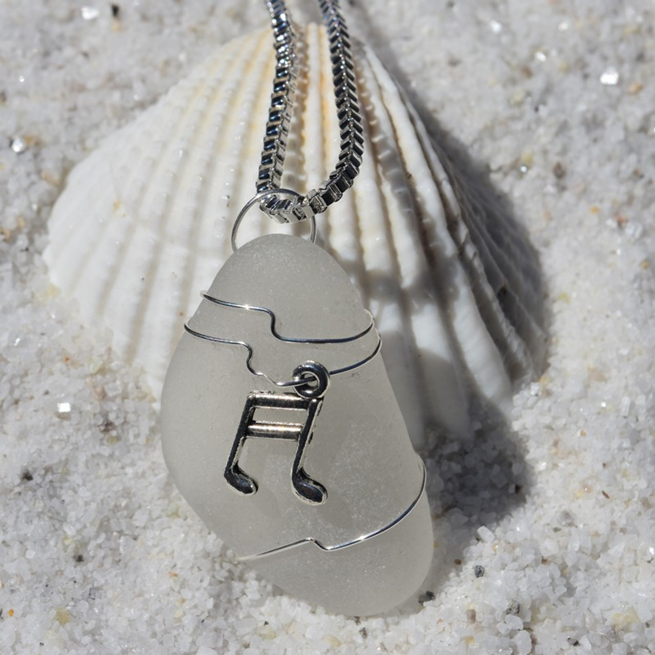Custom Handmade Genuine Sea Glass Necklace with a Silver Musical Note Charm - Choose the Color - Frosted, Green, Brown, or Aqua