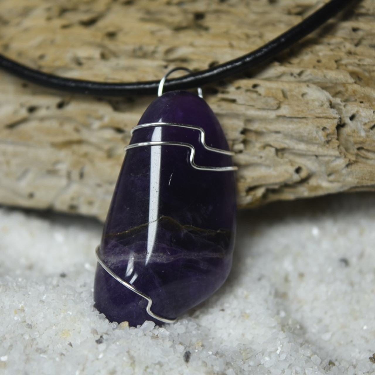 Custom Tumbled Amethyst Stone Wire Wrapped Necklace - Choose Sterling Silver Chain or Leather Cord - Quantity of 1