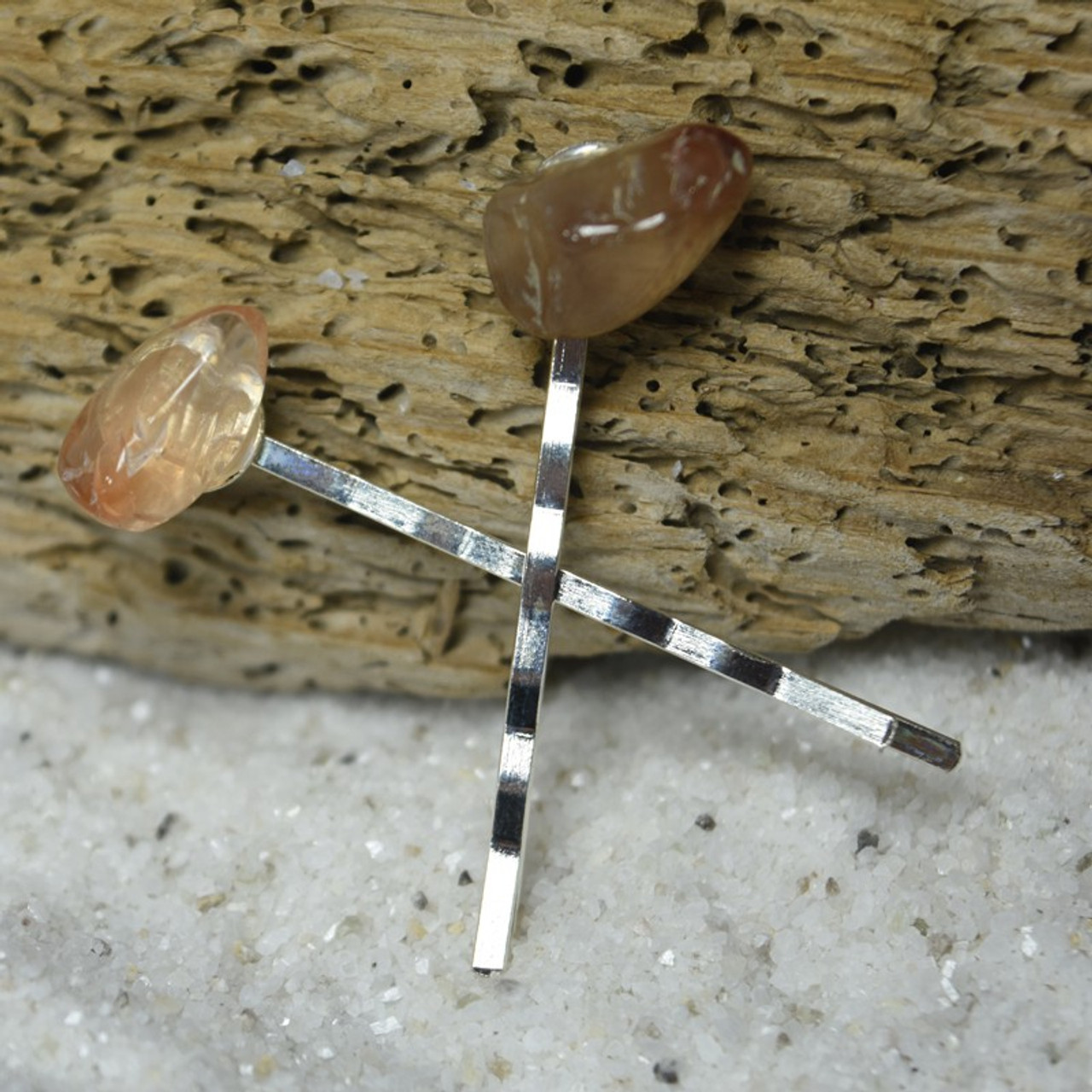 Red Quartz Stone Hair Pins (Quantity of 2)