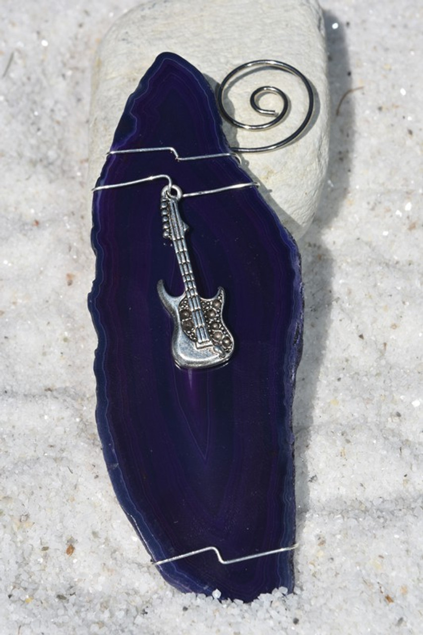 Handmade Agate Slice Ornament with Silver Guitar Charm - Choose Your Agate Slice Color-  Made to Order