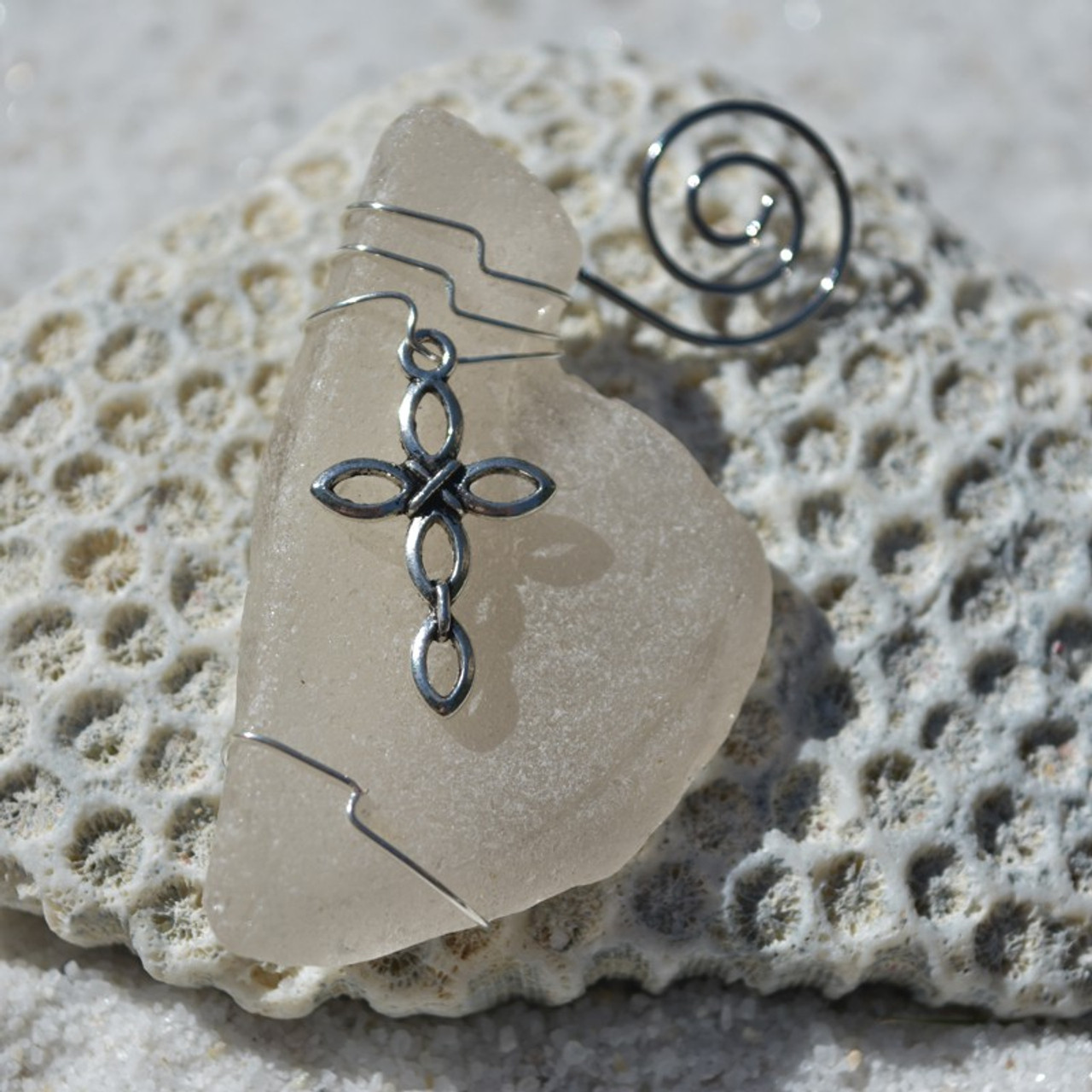 Ornate Silver Cross on a Surf Tumbled Sea Glass Ornament - Choose Your Color Sea Glass Frosted, Green, and Brown - Made to Order