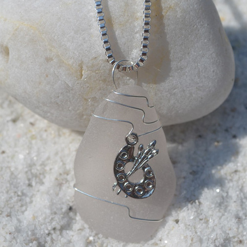 Custom Handmade Genuine Sea Glass Necklace with a Silver Paint Palette Charm - Choose the Color - Frosted, Green, Brown, or Aqua
