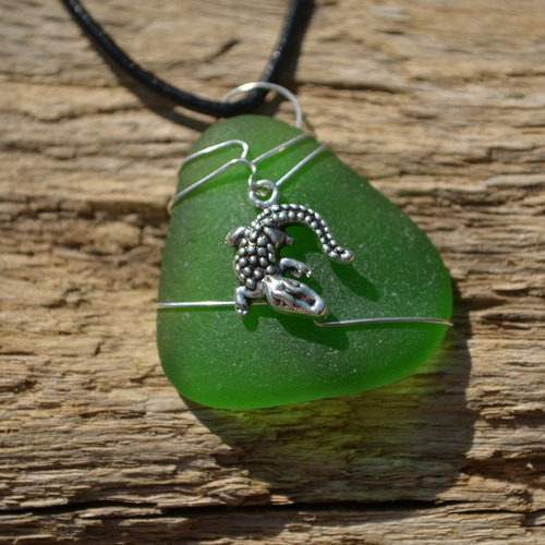 Custom Handmade Genuine Sea Glass Necklace with a Silver Alligator Charm - Choose the Color - Frosted, Green, Brown, or Aqua
