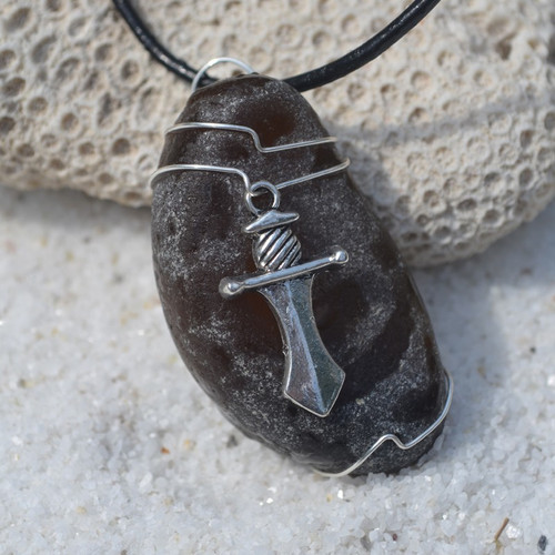 Custom Handmade Genuine Sea Glass Necklace with a Silver Dagger Charm - Choose the Color - Frosted, Green, Brown, or Aqua