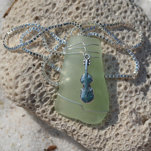Custom Handmade Genuine Sea Glass Necklace with a Silver Cello Charm - Choose the Color - Frosted, Green, Brown, or Aqua