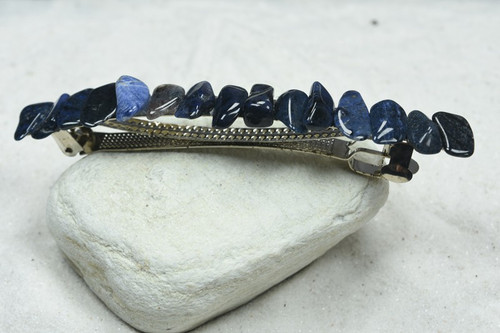 "Dumortierite Stone French Barrette Hair Clip 4"" or 100 mm Length"