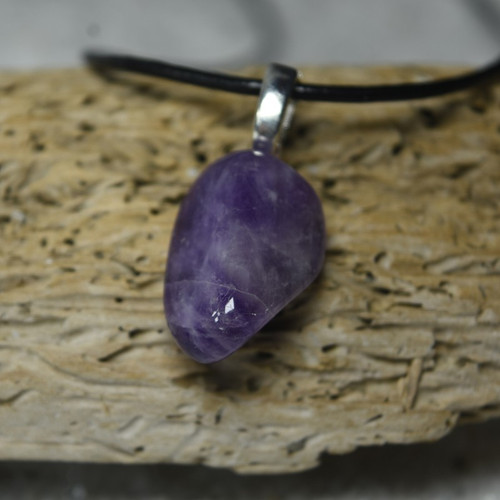 Custom Tumbled Amethyst Stone Necklace - Choose Sterling Silver Chain or Leather Cord - Quantity of 1