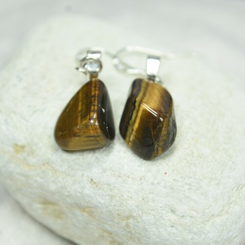 Custom Tumbled Gold Tiger's Eye Dangling Earrings - 1 Set